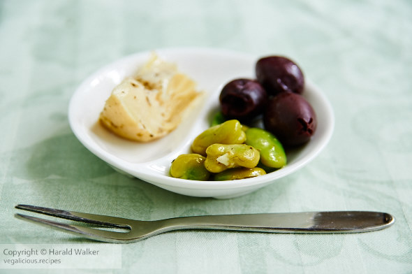 Fava beans marinated with artichoke hearts and olives