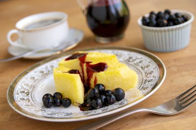 Fried Cornmeal Mush with Blackcurrant Syrup