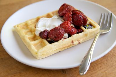 Polenta Waffles with Strawberries In Balsamic Syrup with Cracked Pepper