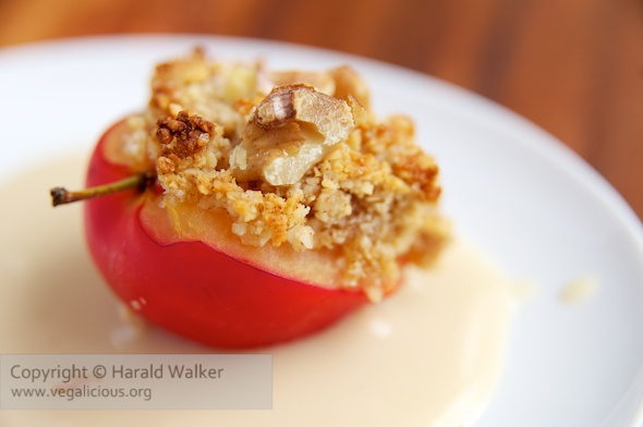 Almond-Walnut Topped Plums with Soy Custard