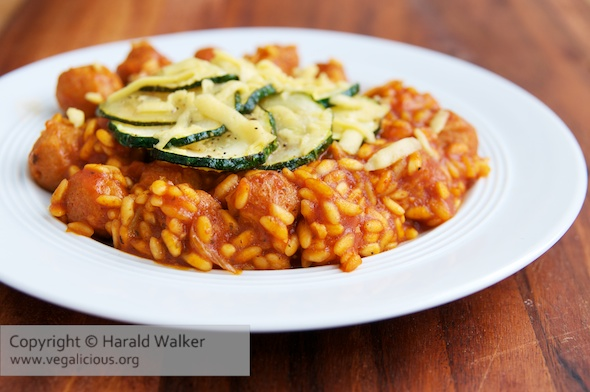 Tomato Risotto with TVP and Zucchini
