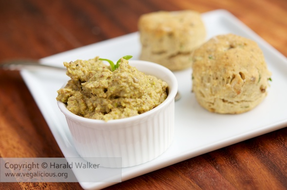 Savory Walut and Herb Biscuits with Pistachio Eggplant Spread