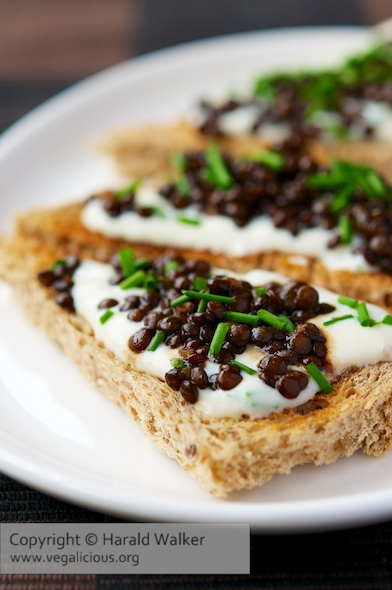 Beluga Lentil Toast Points with Chive and Garlic Soy Yogurt