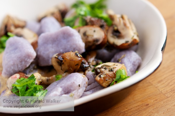 Purple Potato Gnocchi with Chestnut Mushrooms