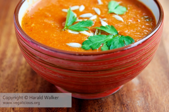 Roasted Red Bell Pepper and Chickpea Soup