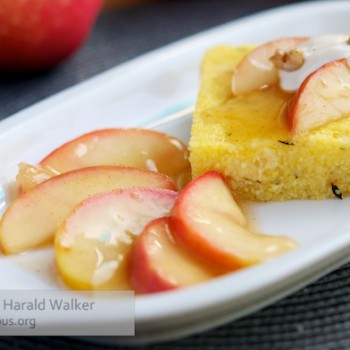 Savory Uncheesy Polenta with Sauteed Apples and Vegan Cream Cheese