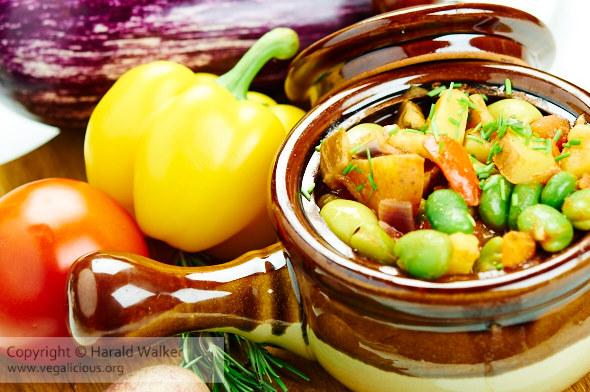 Greek Fava Bean, Eggplant and Olive stew
