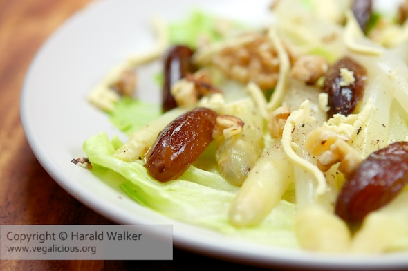 White Asparagus with Dates, Walnuts and Soy Cheese