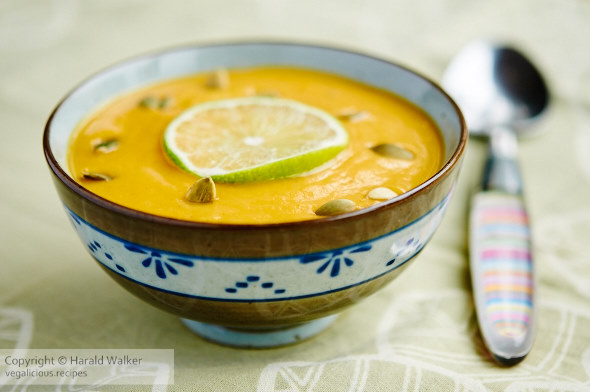 Butternut Squash and Roasted Banana Soup with Coconutand Lime