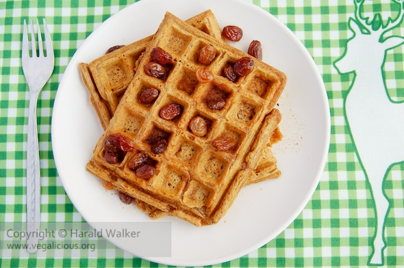 Cardamom Carrot Waffles with Maple Raisin Syrup