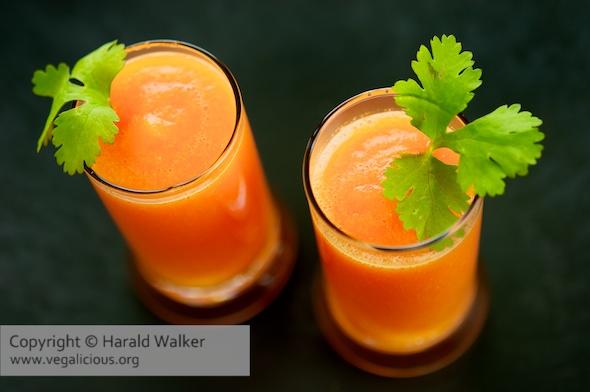 Carrot, orange and ginger gazpacho
