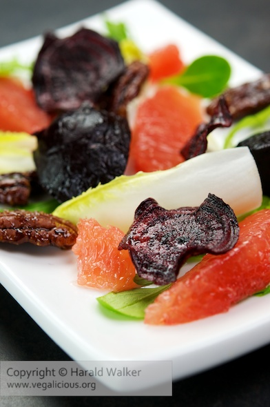 Roasted Beet and Grapefruit Salad with Belgian Endive and Candied Pecans
