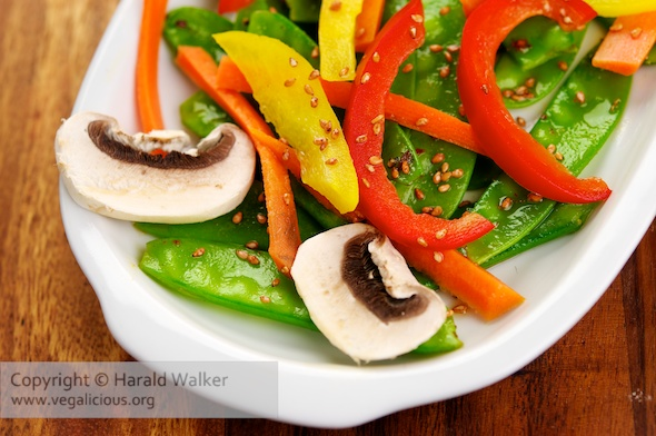 Sugar Snap Pea Salad with Sweet Ginger Soy Dressing