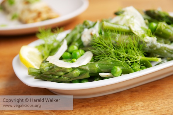 Asparagus, Edamame, Beans and Fennel with Lemon-Chive Dressing