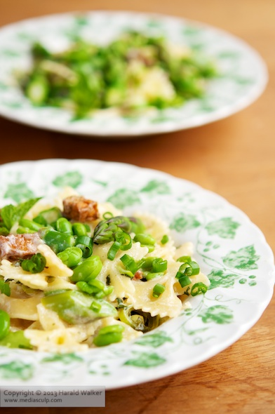 Asparagus, Fava Bean & Smoked Tofu Pasta