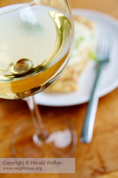 Vegan white wine with dinner