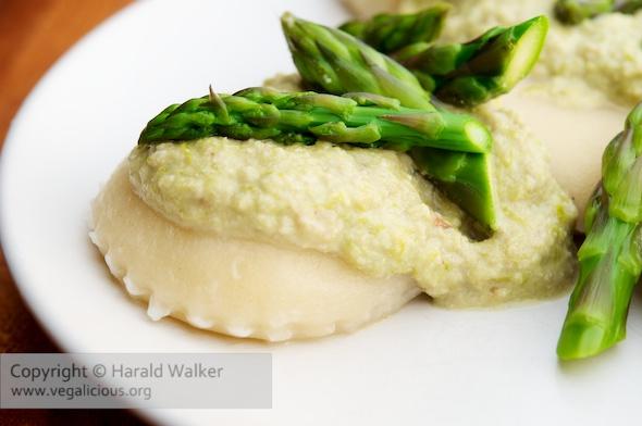 Vegan Ricotta Ravioli with Asparagus Walnut Pesto