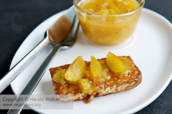 Braised Tempeh with Yellow Plum Chutney