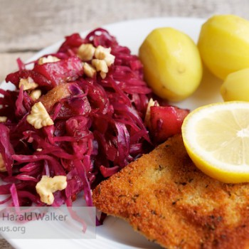 Breaded Tempeh Schnitzel with Braised Red Cabbage and Pears