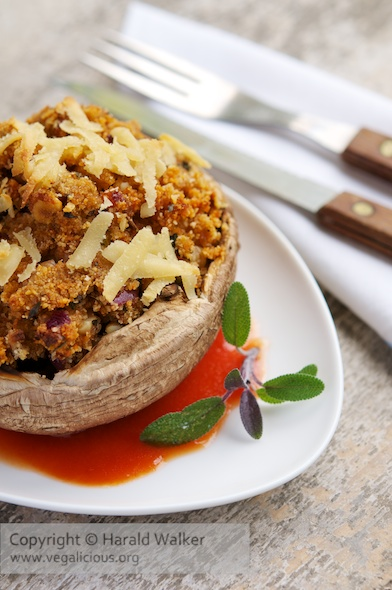 Walnut Stuffed Portobello Mushrooms