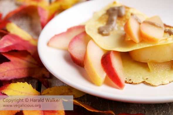 Apple Crepes with Salty Date Caramel Sauce