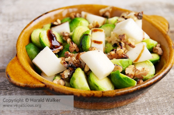 Brussels Sprouts with Walnuts and Pears