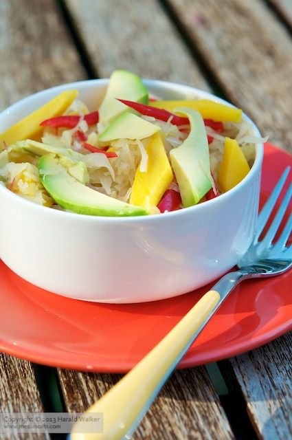 Tropical Sauerkraut Salad with Mango and Avocado - Click here to license this photo