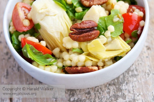 Artichoke Hearts, Jerusalem Couscous Salad with Pecans