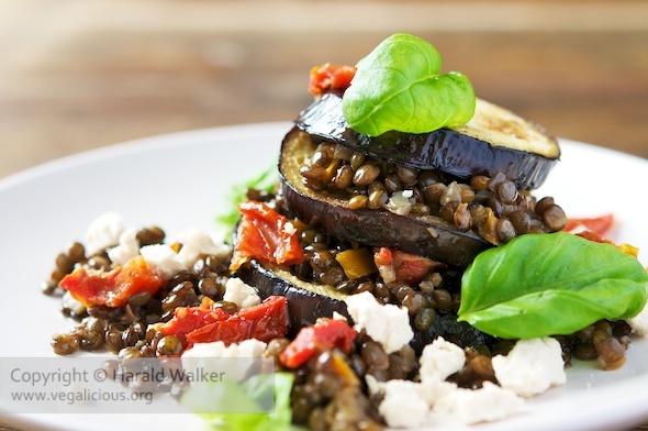 Eggplant Lentil Stacks