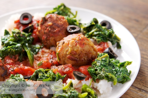 Italian TVP Balls with Spinach on Rice
