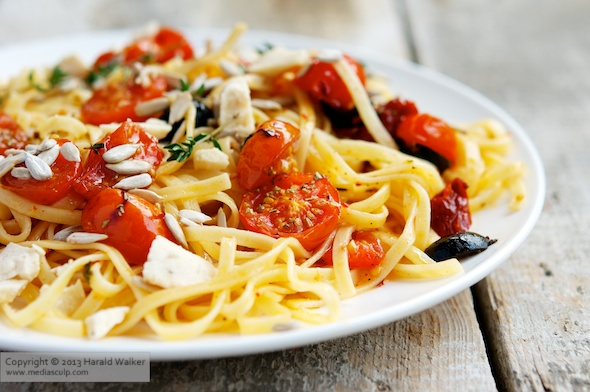 Tagliatelle With Roasted Cherry Tomatoes and Olives