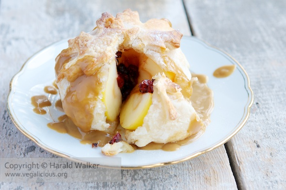 Dried Fruit Filled Apple Dumplings with Vegan Caramel Sauce