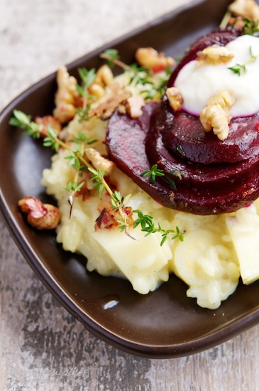 Parsnip risotto with Beets and Walnuts