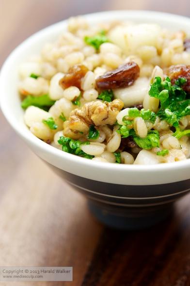 Barley, Walnut and Pear Salad with Raisins