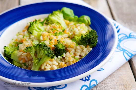 Broccoli Risotto with Red Lentils