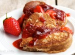 Fluffy Wholewheat Pancakes with Strawberry Syrup