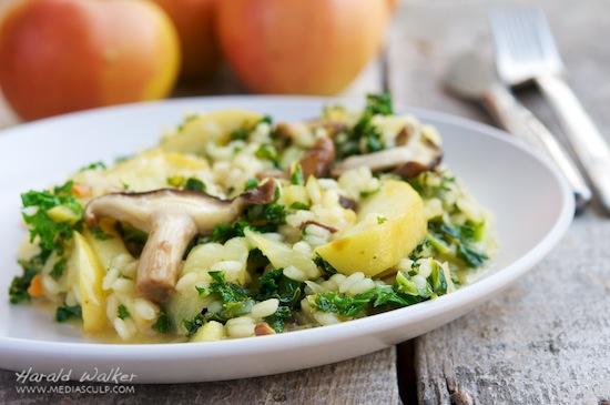 Kale Apple Shitake Risotto