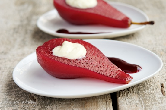 Red wine poached pears with vanilla bean mascarpone filling