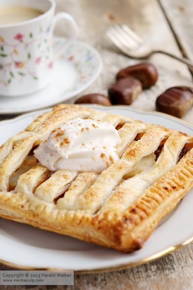 Chestnut-Pear Jalousie Tart with Amaretto Coconut Cream