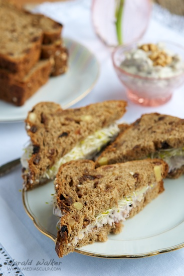 Raisin Bread with a Vegan  Cream Cheese and Nut Spread, Pears and Sprouts