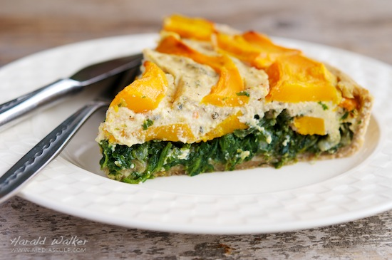 Vegan Pumpkin and Spinach Quiche