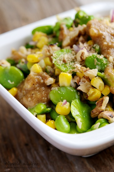 Corn and Fava Bean Salad with Walnut-Miso Dressing