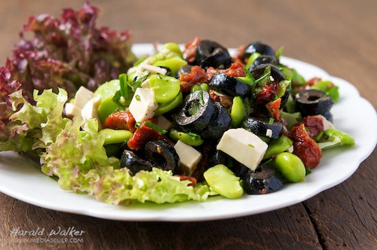 Fava Bean Salad with Black Olives, Sun-dried Tomatoes and Soy Chesese