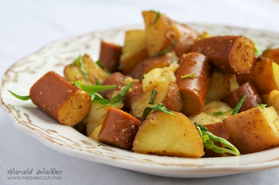 Roasted Potatoes, Apples and Soy Sausages with Maple Mustard Glaze