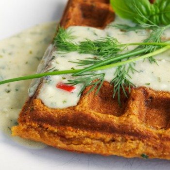 Bell Pepper Cornmeal Waffles with Herb Sauce