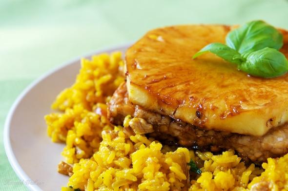 Pan Seared Tempeh on Saffron Walnut Rice Pilaf