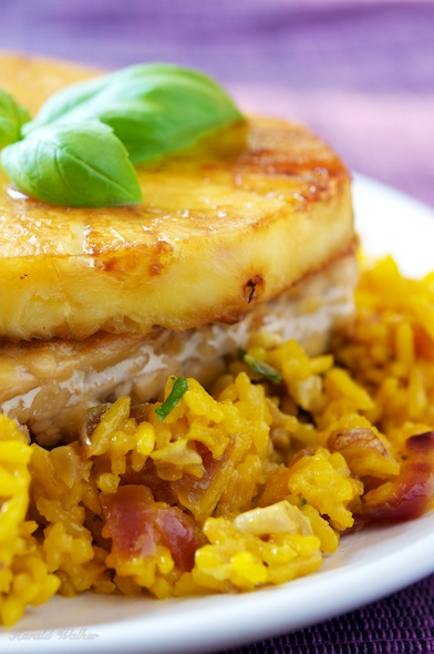 Pan Seared Tempeh on Saffron Walnut Rice Pilaf
