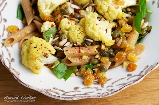 Roasted Cauliflower on Rigatoni with Capers, Raisins and Saffron