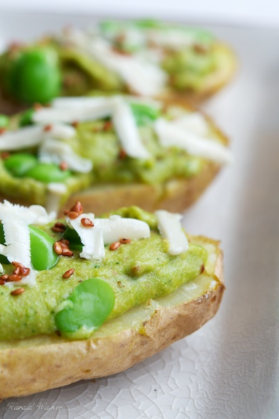 Baked Potatoes with Fava Beans, Mint, Soy Cheese and Sesame