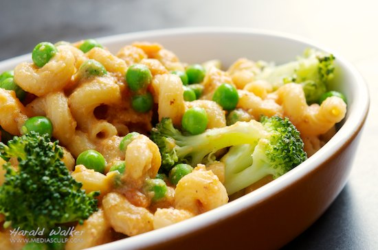 Vegan Mac & Cheese with Broccoli and Peas